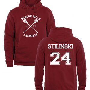 Beacon Hills Lacrosse Stilinski Mens and Girls Hoodies Red maroon