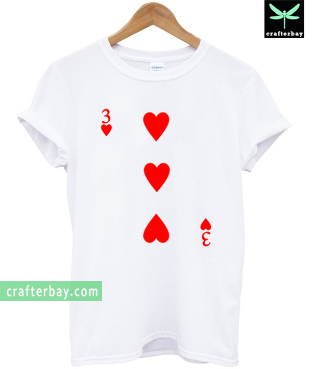 3 Love Heart Card Poker T-shirt