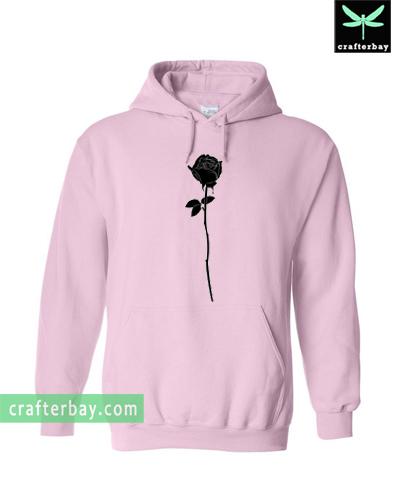 silhouette rose flower Hoodie